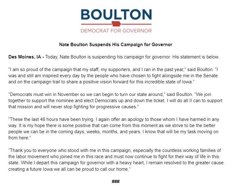 Gubernatorial candidate Boulton suspends campaign following sexual misconduct allegations