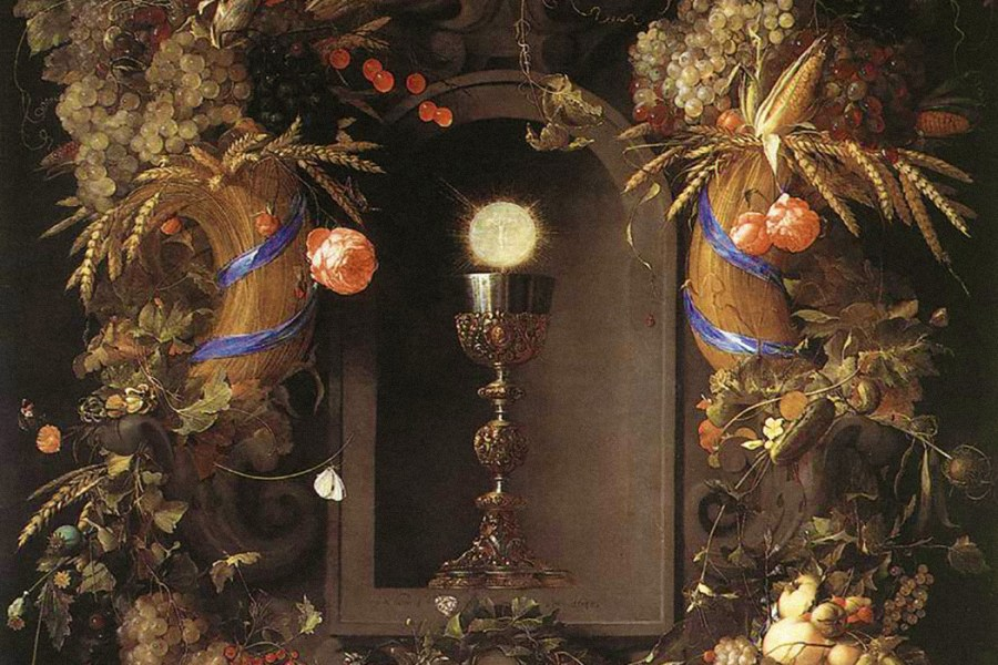 Eucharist in Fruit Wreath by Jan Davidszoon de Heem