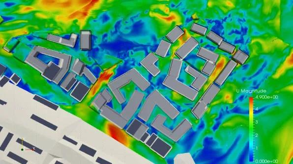 Heat map for analysis of ventilation between urban buildings | Image: courtesy SOM