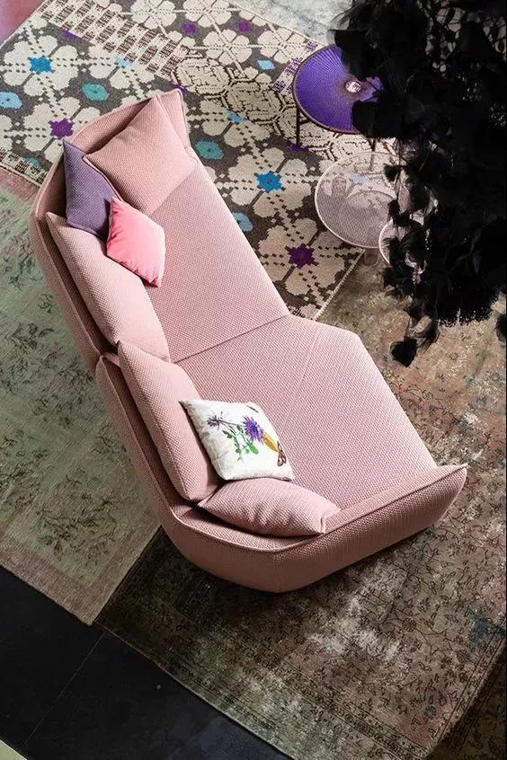 The small sofa is harmonious