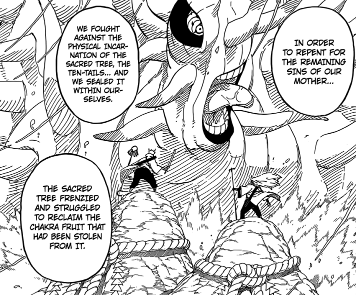 Hagoromo and brother fight Ten Tails