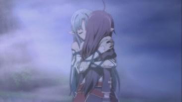 Asuna hugs Yuuki