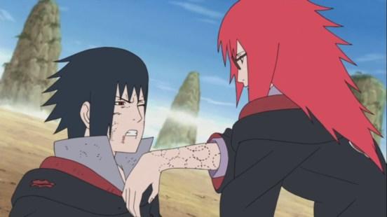 Karin gives Sasuke healing options