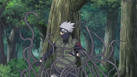 Kakashi captured by strange vines