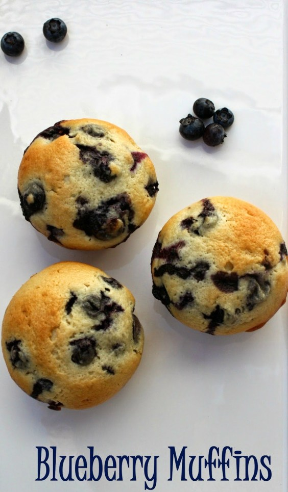 Blueberry Muffins from scratch using freshly picked blueberries.