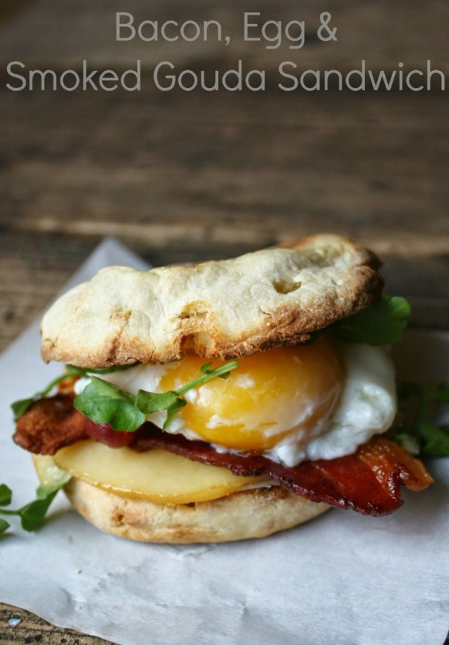 Bacon Egg and Smoked Gouda with Watercress Breakfast Sandwich