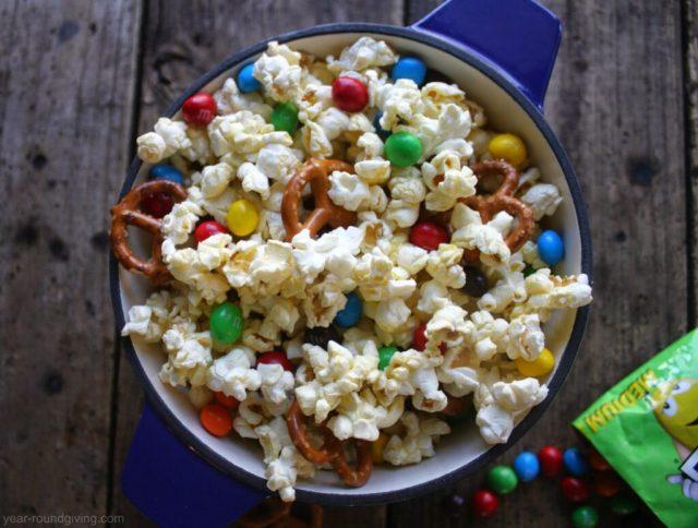 M&M's popcorn snack mix recipe