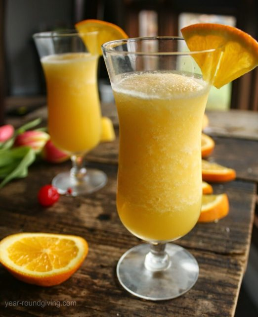 A tropical wine slushie! The Pinot Slush is a wine slushie with Pinot Grigio and Grand Marnier blended with frozen fruit juices.