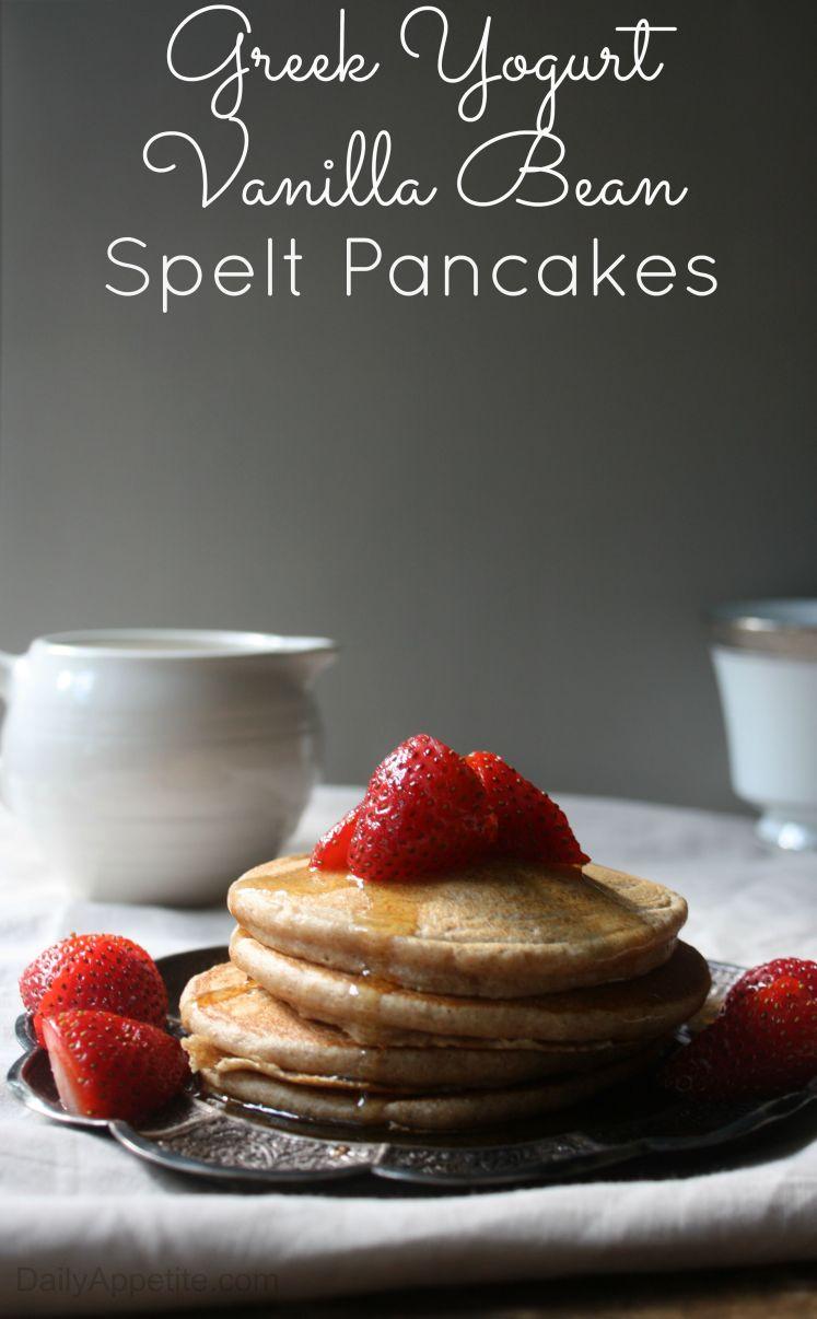 Greek Yogurt Vanilla Bean Spelt Pancakes