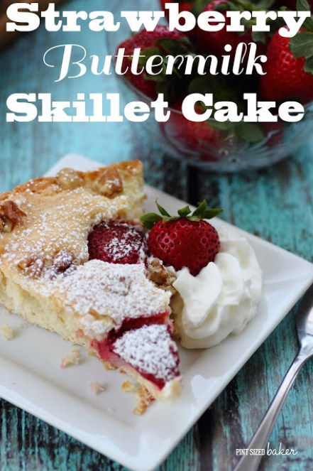 Strawberry Skillet Cake plus 35+ Cast Iron Skillet Recipes