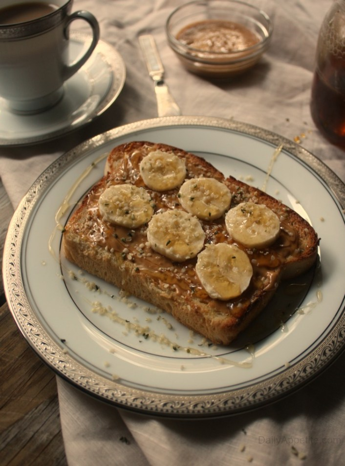 Peanut Butter Banana Hemp Seed Honey Toast