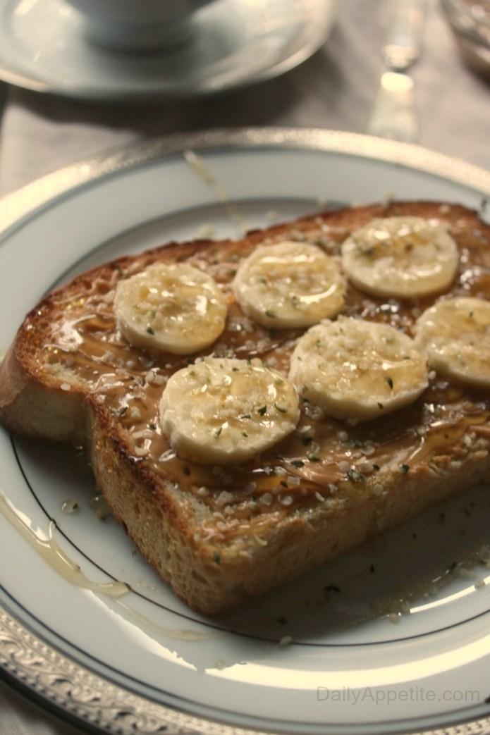 Peanut Butter Banana Hemp Seed Honey Toast