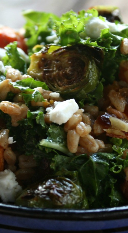 Kale and Farro Salad with Roasted Vegetables