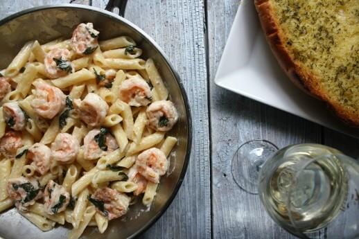 Creamy Lemon Basil Shrimp Pasta recipe. Buttery, garlicky shrimp tossed in a creamy basil wine sauce and pasta. This dinner for 2 is ready in 30 mins.