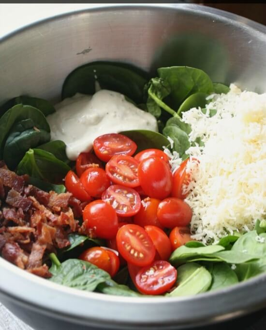 Bacon Tomato Spinach Salad
