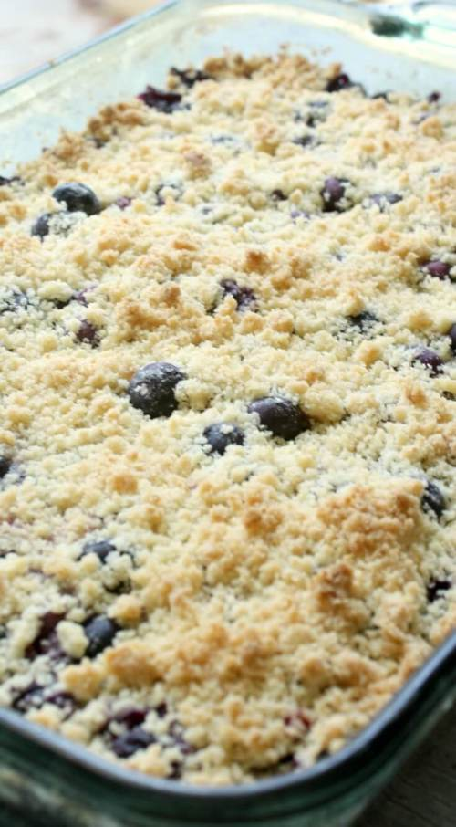 Blueberry Crumb Bars have a buttery sweet shortbread crust and fresh ripe blueberries. Then topped off with shortbread crumbs and baked till golden.