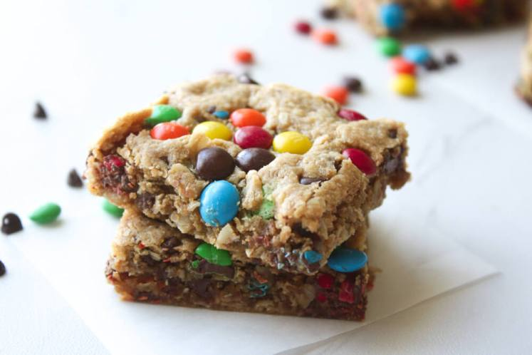 No Flour Monster Cookie Bars
