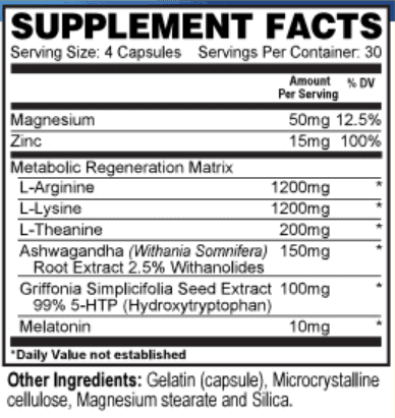 resurge nutrition label