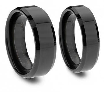Midnight Couples Black Tungsten Ring -Beveled and Polished