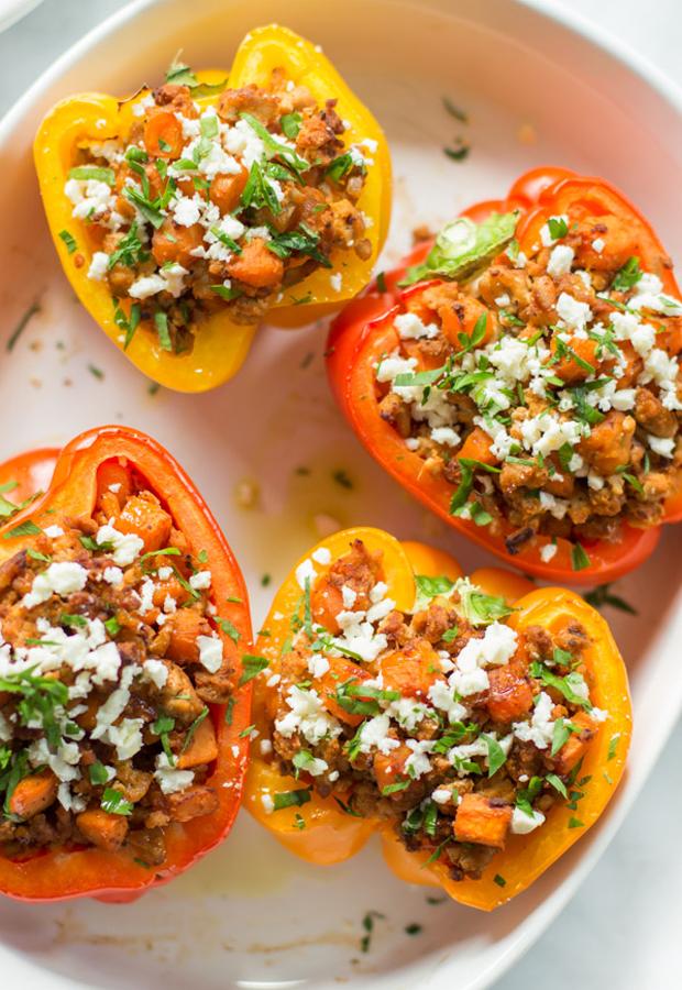 Ground Turkey Recipes: Sweet Potato Stuffed Peppers