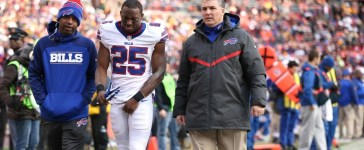 LANDOVER, MD - DECEMBER 20: Running back LeSean McCoy #25 of the Buffalo Bills walks off of the field in the third quarter after being injured against the Washington Redskins at FedExField on December 20, 2015 in Landover, Maryland. The Washington Redskins won, 35-25. (Photo by Patrick Smith/Getty Images)