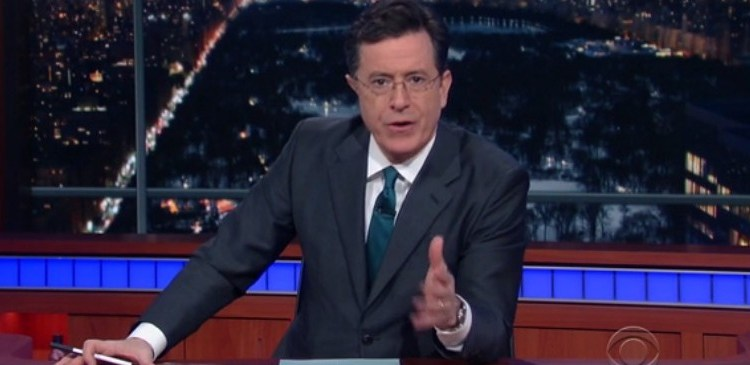 WATCH Colbert's Surprisingly Reverent Tribute To Antonin Scalia (screenshot: CBS)