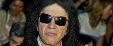 Gene Simmons of US rock band Kiss gestures as he poses before the presentation of Francis Montesinos Spring-Summer 2016 collection during the Madrid Fashion Week in Madrid on September 18, 2015