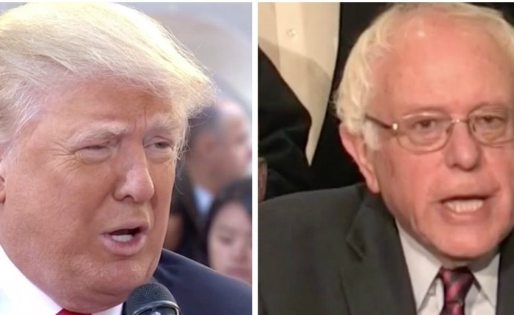 Donald Trump, Bernie Sanders, Screen Shot MSNBC and NBC, 4-26-2016
