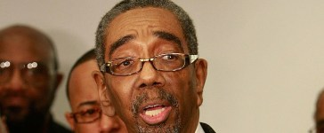 Congressman Bobby Rush (D-IL) addresses the media in support of U.S. Senator Roland Burris (D-IL), prior to a prayer and support service at the New Covenant Baptist Church March 1, 2009 in Chicago, Illinois. (Photo by Scott Olson/Getty Images)