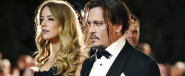 Desert Palm Achievement Award recipient actor Johnny Depp and wife actress Amber Heard pose at the 27th Annual Palm Springs International Film Festival Awards Gala in Palm Springs, California