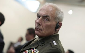 U.S. Marine Corps General Kelly attends a news conference after a meeting with ministers in Guatemala's Ministry of Foreign Affairs, Guatemala City