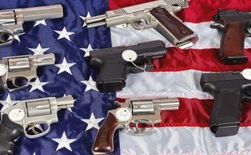Guns on the American flag.