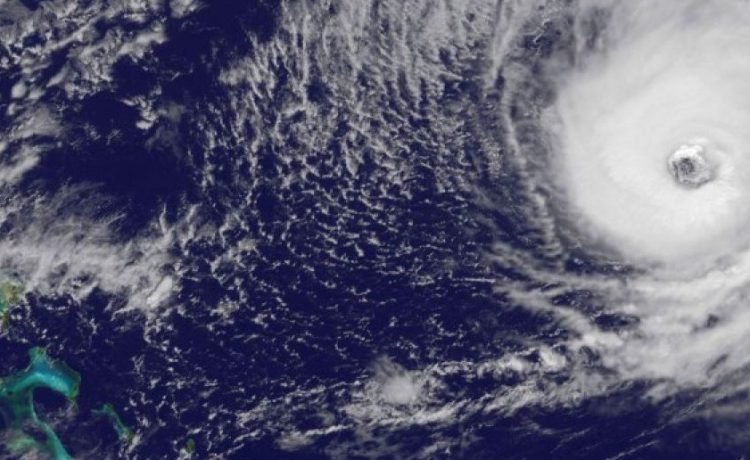 Hurricane Nicole is seen approaching Bermuda in this image from NOAA's GOES-East satellite
