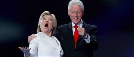 Democratic presidential nominee Hillary Clinton and her husband former president Bill Clinton react to the balloon drop after she accepted the nomination on the fourth and final night at the Democratic National Convention in Philadelphia, Pennsylvania, U.S. July 28, 2016. REUTERS/Jim Young
