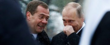 Russian President Vladimir Putin and Prime Minister Dmitry Medvedev attend a ceremony to unveil a monument of grand prince Vladimir I, who initiated the christianization of Kievan Rus' in 988AD, on National Unity Day in central Moscow, Russia, November 4, 2016. REUTERS/Sergei Karpukhin