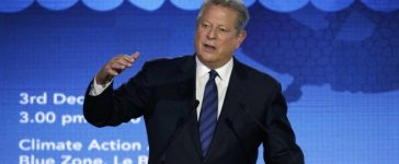 FILE PHOTO - Al Gore delivers a speech at the World Climate Change Conference 2015 (COP21) in Le Bourget