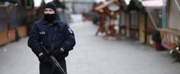 Police stands guard at the Kaiser-Wilhelm-Gedaechtniskirche Christmas market in Berlin