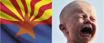 Arizona Flag: Shutterstock, Crying baby: REUTERS/Jim Bourg