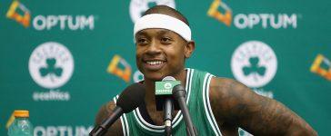 Isaiah Thomas #4 of the Boston Celtics speaks with the media during Boston Celtics Media Day on September 26, 2016 in Waltham, Massachusetts. (Photo by Tim Bradbury/Getty Images)