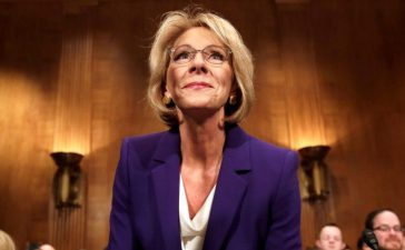Betsy DeVos arrives at the Senate Health, Education and Labor Committee confirmation hearing to be next Secretary of Education on Capitol Hill in Washington, U.S., January 17, 2017. REUTERS/Yuri Gripas