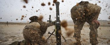 Marines assigned to Weapons Company, 1st Battalion, 3rd Marine Regiment, fire a M252A2 81mm mortar system at Range 106 during Integrated Training Exercise 2-17, at Marine Corps Air Ground Combat Center, Twentynine Palms, Calif., Jan. 13, 2017. ITX is a combined-arms exercise which provides all elements of the Marine Air Ground Task Force an opportunity to utilize capabilities during large scale missions to become a more ready fighting force. 1/3 is currently participating as the ground combat element for this exercise. (U.S. Marine Corps photo by Cpl. Aaron S. Patterson)