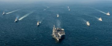 U.S. and South Korean naval ships traverse the ocean in formation as part of Foal Eagle 2016 in the waters surrounding the Korean peninsula, in this U.S. Navy picture taken March 24, 2016. Picture taken March 24, 2016. REUTERS/U.S. Navy/Petty Officer 3rd Class Andre T. Richard/Handout via Reuters