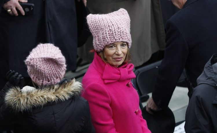 Women wear pink protest hats prior to U.S. President-elect Trump's inauguration in Washington