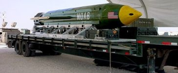 "he GBU-43/B Massive Ordnance Air Blast bomb sits in theater of the Global War on Terror awaiting to be used should it become necessary. The MOAB is also called ""The Mother of all Bombs"" by scientists and the community alike. (Photo: U.S. Air Force/Courtesy photo)"