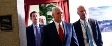 U.S. Vice President Mike Pence departs a healthcare meeting at the U.S. Capitol in Washington