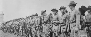 U.S. Marines form a line in France in an undated photo taken during the First World War. The United States marks 100 years since their entry into World War One on April 6, 2017. Courtesy Library of Congress/Handout via REUTERS