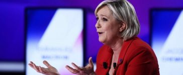 """Marine Le Pen, French National Front (FN) political party leader and candidate for French 2017 presidential election, attends the France 2 television special prime time political show, """"15min to Convince"""" in Saint-Cloud, near Paris, France, April 20, 2017. REUTERS/Martin Bureau/Pool"""