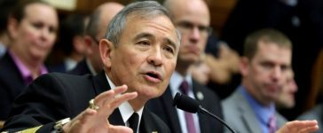 """The Commander of the U.S. Pacific Command, Admiral Harry Harris, testifies before a House Armed Services Committee hearing on """"Military Assessment of the Security Challenges in the Indo-Asia-Pacific Region"""" on Capitol Hill in Washington, U.S, April 26, 2017. REUTERS/Yuri Gripas"""