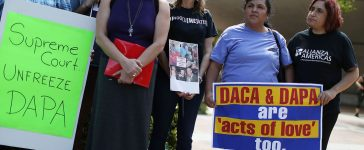 MIAMI, FL - APRIL 13: Immigrant families and community members stand together during a press conference to speak about the Supreme Court Oral Arguments that are set to begin on Monday about the DACA/DAPA Executive Actions on April 13, 2016 in Miami, Florida. The Supreme Court will hear on April 18th arguments on United States v. Texas , a case that may determine whether President Barack Obamas Deferred Action for Parents of Americans and Lawful Permanent Residents (DAPA) and expanded Deferred Action for Childhood Arrivals (DACA), will be able to move forward. (Photo by Joe Raedle/Getty Images)