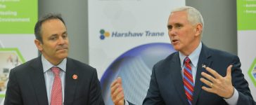U.S. Vice President Mike Pence, sitting with Kentucky Governor Matt Bevin, discusses the American Health Care Act during a meeting with local business leaders at the Harshaw-Trane Parts and Distribution Center in Louisville, Kentucky, U.S., March 11, 2017. REUTERS/Bryan Woolston